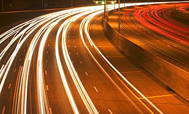 Blurred traffic headlights at night