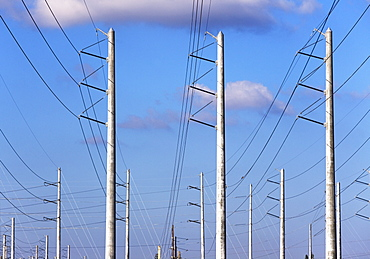 Communication tower and power lines