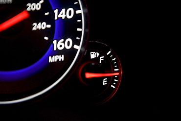 Close up of speedometer and gas gauge