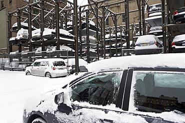 Car lot in winter