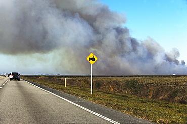 Smoke over road