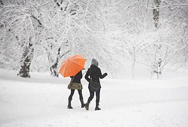 Two girls walking through snowy park