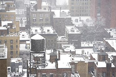 Urban rooftops in winter