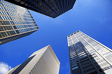 USA, New York City, Low angle view of skyscrapers