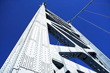 USA, Pennsylvania, Philadelphia, Span of Ben Franklin Bridge against blue sky