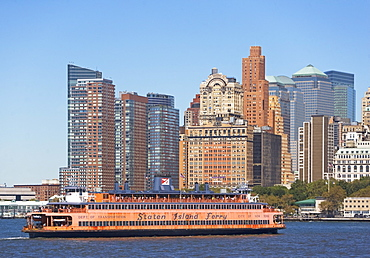 USA, New York City, Manhattan, Battery Park skyline with ferry