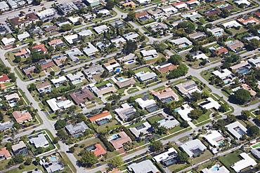 USA, Florida, Miami, Aerial view of suburban residential district