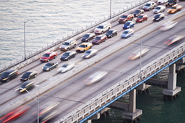 USA, Florida, Miami, Traffic jam on bridge