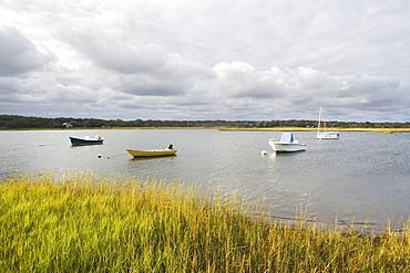 USA, New York, Long Island, East Hampton, Boats floating on lake