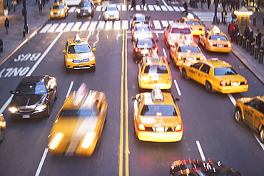 USA, New York City, Manhattan, Traffic on 42nd street