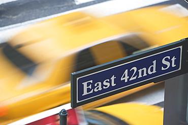 USA, New York City, Manhattan, Road direction sign on 42nd Street