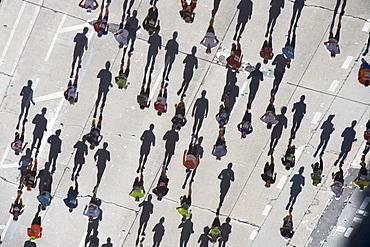 USA, New York City, New York City Marathon as seen from above