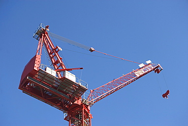 Low angle view of industrial crane