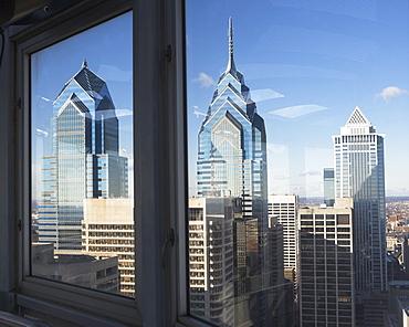 USA, Pennsylvania, Philadelphia, view through window on skyscrapers