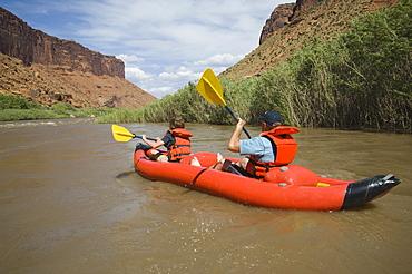 People paddling in raft