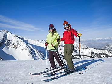 Women standing on skis, Wasatch Mountains, Utah, United States