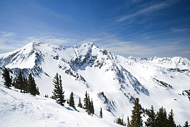 Snow covered mountains, Wasatch Mountains, Utah, United States