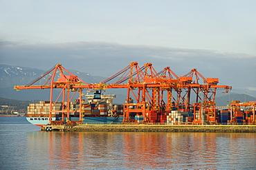Cargo ship at dock, Vancouver, British Columbia, Canada