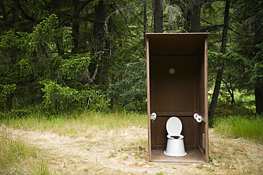 Outhouse in forest