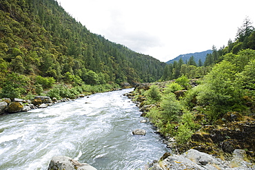 Scenic view of river and forested canyon
