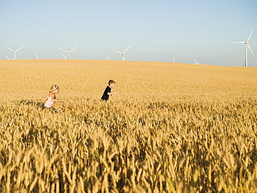 Children running through tall wheat field on wind farm