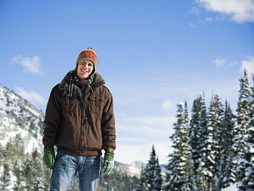 A man outdoors in snowy surroundings