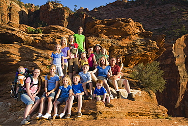 A large family on vacation at Red Rock