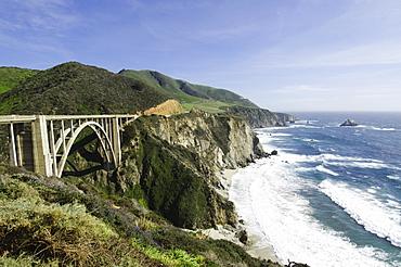 Coastline with bridge, Big Sur, Monterey, California