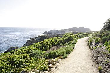 Empty path along coast, Big Sur, Carmel, California