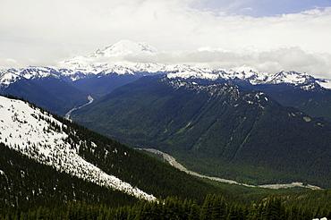 Landscape with mountain range in background, USA, Washington, Mount Rainier State Park