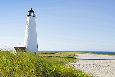 Great Point Lighthouse on overgrown beach against clear sky, Nantucket, Massachusetts, USA