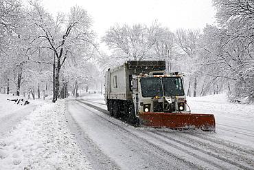 Snowplow on street, New York City