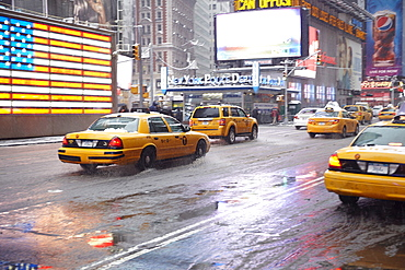 Yellow taxis on Time Square, New York City