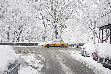 Yellow taxi at winter, New York City