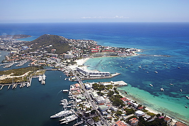 Aerial view of town, marina and Caribbean sea, St. Maarten