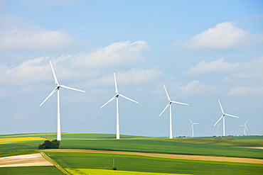 France, Rocroi, Wind turbines on fields, France, Rocroi