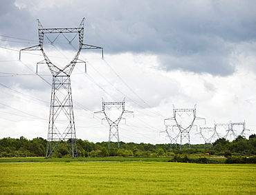 France, Rocroi, Rural landscape with power line, France, Rocroi