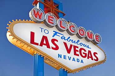 USA, Nevada, Boulder City, welcome sign to Las Vegas, USA, Nevada, Boulder City