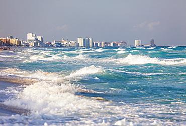 Mexico, Quintana Roo, Yucatan, Cancun, Skyline and sea, Mexico, Quintana Roo, Yucatan, Cancun