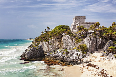 Mexico, Quintana Roo, Yucatan, Cancun, Ruins on cliff, Mexico, Quintana Roo, Yucatan, Cancun