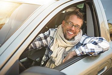 Portrait of smiling car owner