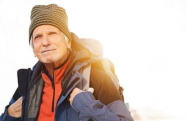 Senior man hiking