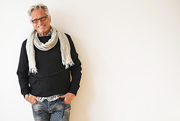 Portrait of fashionable senior man