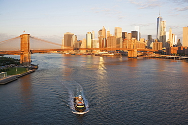 Brooklyn Bridge and cityscape, New York City, New York