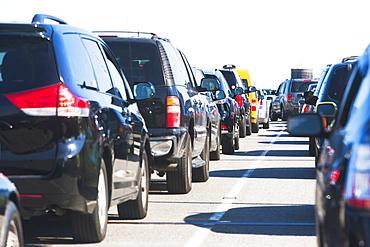 Cars in traffic jam, New York City, New York