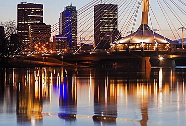 Reflection of skyscrapers in river, Winnipeg Manitoba, Canada