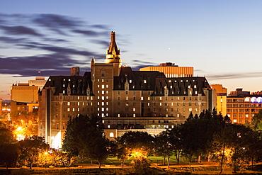 Illuminated castle at dusk, Canada