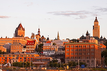 View of old town architecture on hill at sunset, Canada