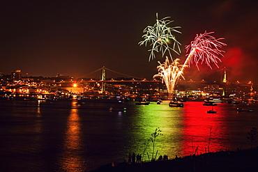 Fireworks over river, Nova Scotia, Canada