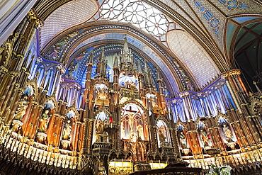 Interior view of Notre-Dame Basilica, close-up on altar, Quebec, Canada